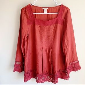 Sundance Silk Lace Embroidered Blouse